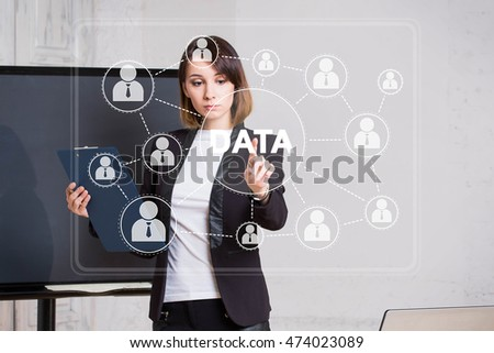 Business woman push button DATA icon network