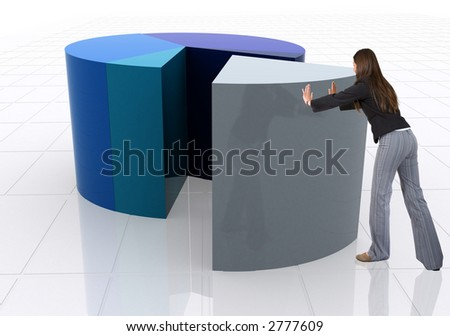 business woman pushing a pie chart over a white background - stock photo