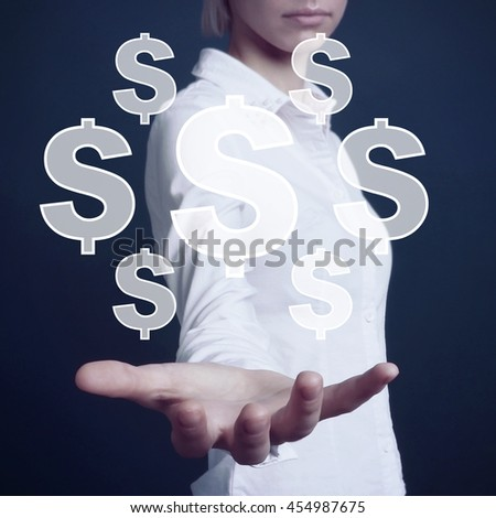 Business woman pushing button with dollar icon