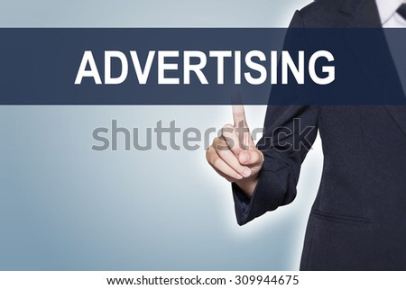 Business woman pushing hand Advertising on virtual screen for e-commerce background - stock photo