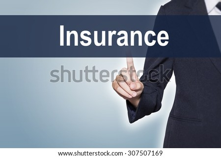 Business woman pushing Insurance word on virtual screen for e-commerce background - stock photo