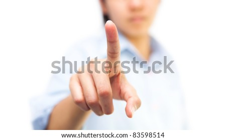 Business woman pushing on whiteboard, isolate on white background - stock photo