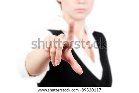 Business woman pushing on whiteboard, isolate on white background - stock photo
