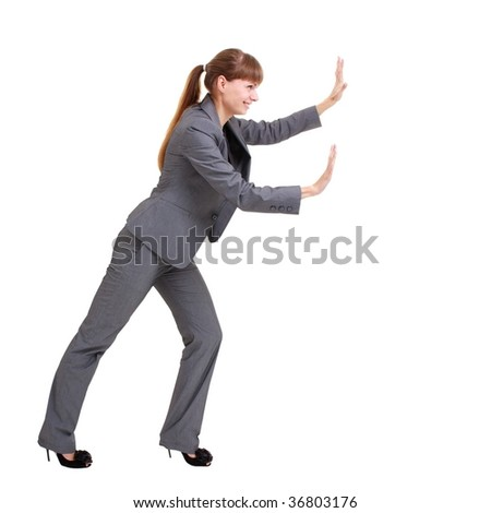 Business woman pushing something, isolated on a white background