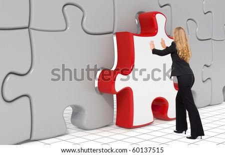 Business woman pushing the last puzzle piece in - 3d