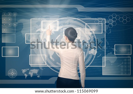 business woman pushing virtual button in web interface with her finger over blue background - stock photo