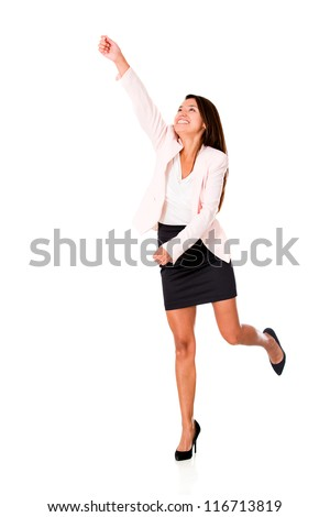 Business woman reaching something - isolated over a white background - stock photo
