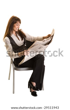 Business Woman reading the newspaper on the chair on white background - stock photo