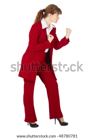 Business woman ready to fight isolated on white background