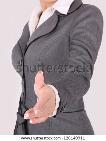 business woman ready to handshake on gray background