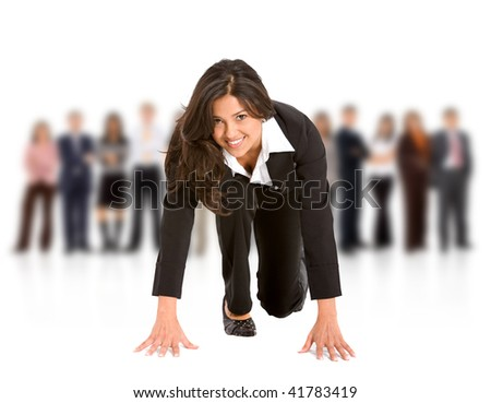 business woman ready to race isolated over a white background - stock photo