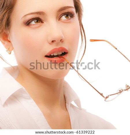 Business woman reflects on successful negotiations, isolated on white background.