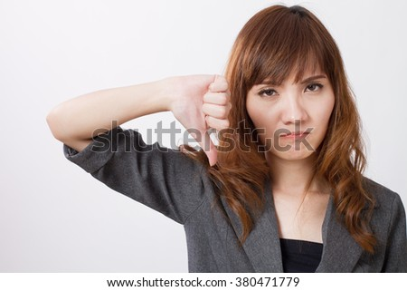 business woman rejection with thumb down - stock photo