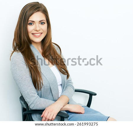 Business woman relax on office chair. white background isolated portrait. Big Smile with teeth. - stock photo