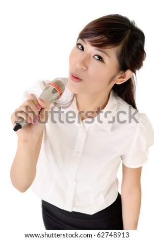 Business woman relaxing and singing against white background.