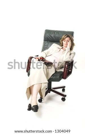 business woman relaxing on chair over white
