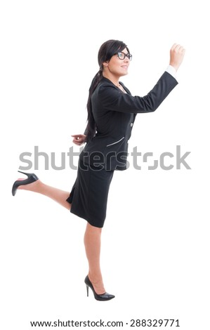 Business woman running happy isolated on white background - stock photo