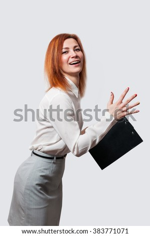 Business woman running isolated on white background. - stock photo