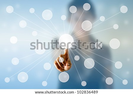 Business woman's hand press the button, selection concept. - stock photo