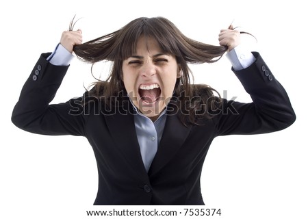 business woman screaming isolated in white background - stock photo