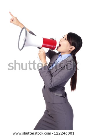 Business woman screaming with a megaphone and finger point to empty copy space isolated on white background, model is a asian beauty - stock photo