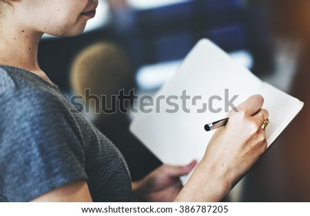 Business Woman Secretary Writing Information Concept - stock photo
