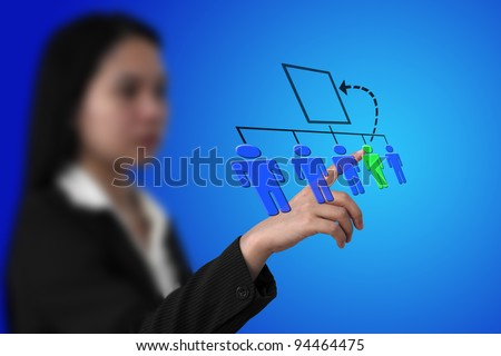 Business Woman Select Employee to Promote on Virtual Touch Screen Interface for Job Promotion Concept