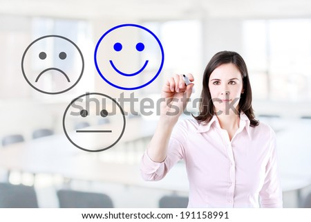 Business woman select happy on satisfaction evaluation. Office background.   - stock photo