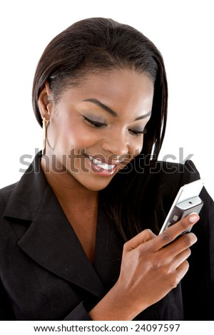 Business woman sending a text message on her mobile phone - isolated over a white background