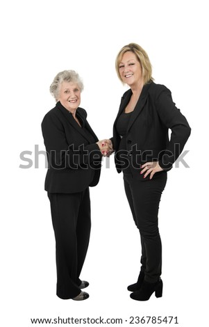 Business woman shaking hands against a white background - stock photo