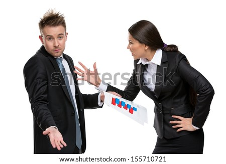 Business woman shouts at manager, isolated on white. Concept of competition and job competitive promotion - stock photo