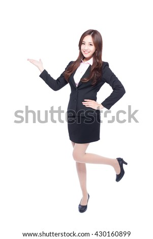 business woman show something in full length isolated in white background, Asia beauty - stock photo