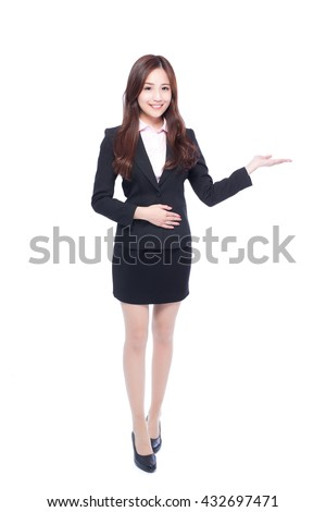 business woman show something in full length isolated in white background,asia beauty - stock photo