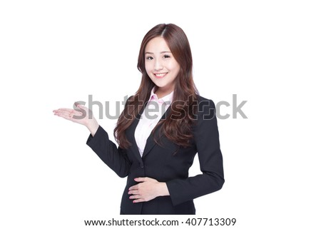business woman show something isolated on white background, asian beauty - stock photo