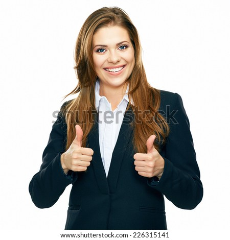 business woman show thumb . white background isolated portrait. - stock photo