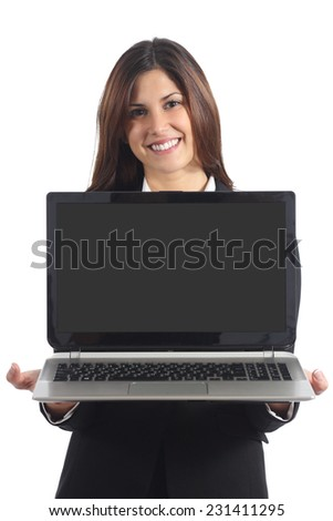 Business woman showing a blank laptop screen isolated on a white background