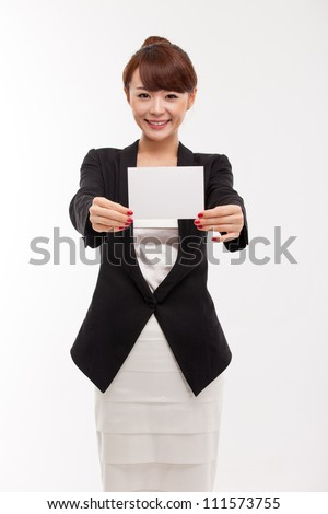 Business woman showing blank card. isolated over white
