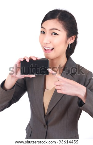 Business Woman Showing blank display of touch mobile cell phone . - stock photo