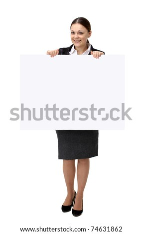 Business woman showing blank sign board - stock photo