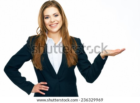 business woman showing copy space for product or advertising text . white background isolated.