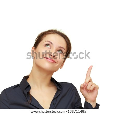 Business woman showing finger up and looking happy isolated on white background - stock photo