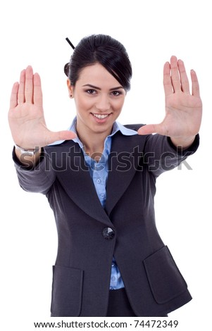 Business woman showing framing hand gesture - isolated on white - stock photo