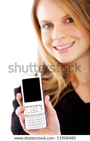 business woman showing her phone isolated over a white background - stock photo