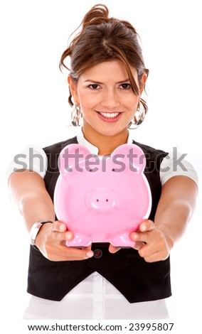 business woman showing her savings in a piggybank - isolated over a white background