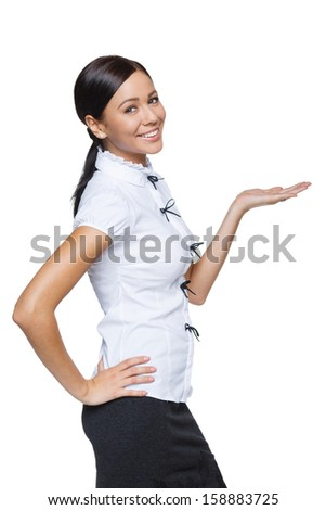Business woman showing / holding on the palm blank copy space over white background - stock photo
