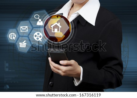 Business woman showing mobile and virtual global communication. Concept of boundless communication. - stock photo