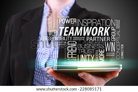 business woman showing modern tablet phone template and functions - stock photo