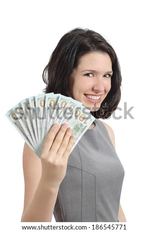 Business woman showing money holding banknotes isolated on a white background