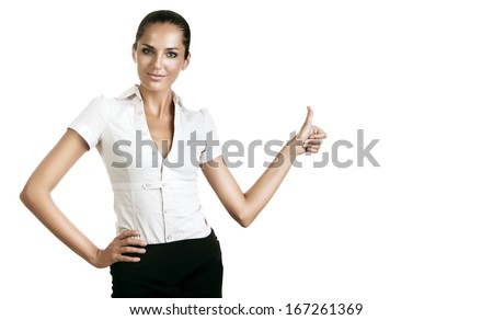 business woman showing ok gesture on white background - stock photo