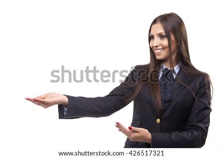 Business woman showing open hand showing blank space for advertisement. Isolated on white background.  - stock photo